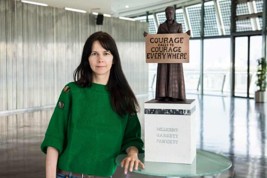 Gillian Wearing with a model of her sculpture of suffragist leader Millicent Fawcett.