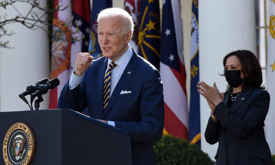 Joe Biden speaks about the American Rescue Plan in the Rose Garden of the White House.