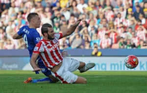 Jamie Vardy of Leicester holds off the challenge of Stoke's Marc Wilson to score past Jack against Butland