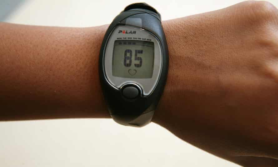 A heart rate monitor on a wrist