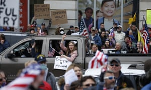 Protesters demonstrate at the state capitol in Harrisburg, Pennsylvania. Across the country, the protesters who became the faces of the race to reopen have been mostly white.