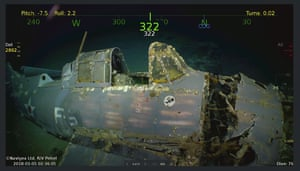 Remarkably preserved aircraft could be seen on the seabed bearing the five-pointed star insignia of the US navy on their wings and fuselage.