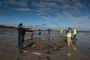 Volunteers show the outline of the newly discovered Tankerton shipwreck near Whitstable in Kent