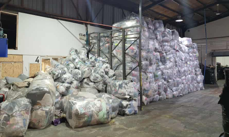 The warehouse at ECS Textiles in North Shields, which is full of donated clothing that cannot be shipped.