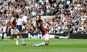 Tottenham's Harry Kane shoots at goal.