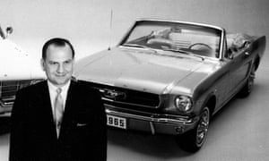 Lee Iacocca with a 1965 Ford Mustang, the car that propelled him to fame.
