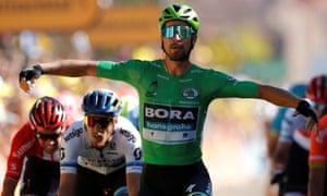 Hansgrohe rider Peter Sagan of Slovakia celebrates winning the stage.