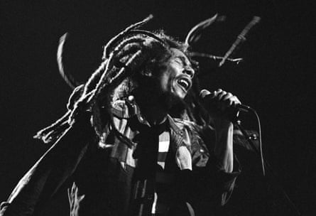 Bob Marley on stage in Chicago in 1979.