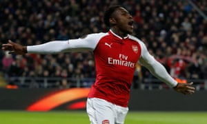 Danny Welbeck celebrates scoring Arsenal's first goal against CSKA in Moscow