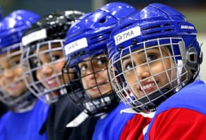 Kuwait City. Members of Kuwait's 56-strong women's ice hockey team take part in a training session