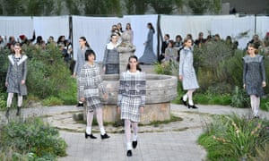 Models walk the runway during the Chanel show