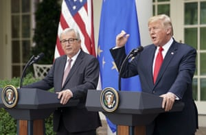 President Donald Trump and European Commission president Jean-Claude Juncker speaking in the Rose Garden of the White House a few minutes ago