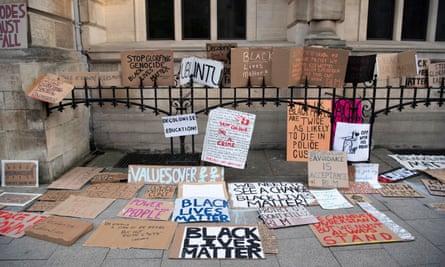 A Black Lives Matter protest at Oriel College in June