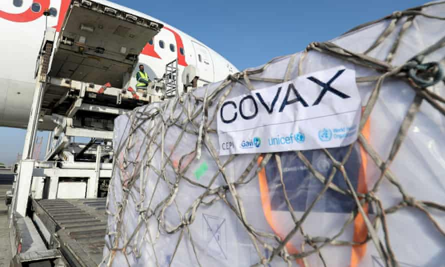 A Covax shipment of coronavirus vaccine is unloaded from a cargo plane in Ethiopia