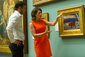 giles coren and rose balston with holman hunts the scapegoat in sky arts tv programme fake!