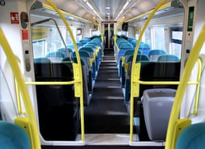 An empty Southern train travelling to Brighton