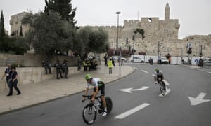 Cyclists warm up prior to the time trials at the start of 2018 Giro d'Italia, Tour of Italy cycling race, in Jerusalem on Friday, 4 May