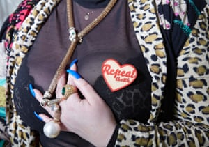 Andrea Horan, who owns a nail bar, wears a Repeal the Eighth badge