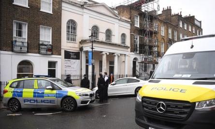 Police outside the Angel church in Clerkenwell.