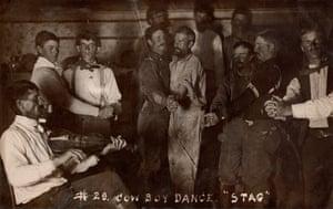 "p. 319.2Postcard 1910, 88 × 139 mm Provenance: US Note: ""Cowboy Dance 'Stag' October 11, 1910"""