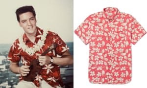 (From left) Elvis in Blue Hawaii; button-down collar floral-print cotton shirt, £60, J. Crew at Mr Porter.