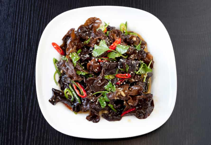 'Both slippery and crunchy': black fungus salad with chilli and sesame oil.
