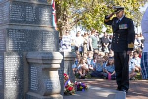 The Anzac Day ceremony for Harden/ Murrumburrah on the South-West slopes of NSW 60kms North-West of Yass NSW this morning. Sunday 25th April 2021. Photograph by Mike Bowers. Guardian Australia