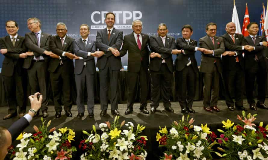 Trade ministers from the Trans-Pacific Partnership's 11 members.
