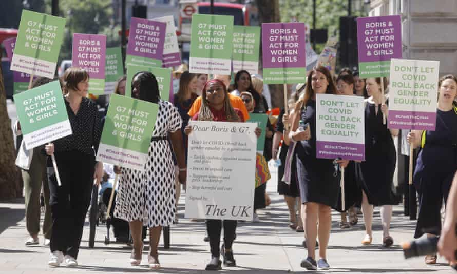 Jess Phillips, far left, at a women's rights protest in Westminster, June 2021.