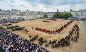 Members of the Guard Regiments during the trooping the colour ceremony at Horse Guards Parade