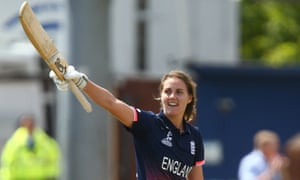 Natalie Sciver of England celebrates making her century.