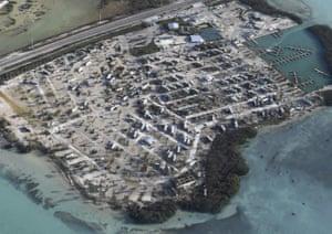 Overturned trailer homes in the Florida Keys