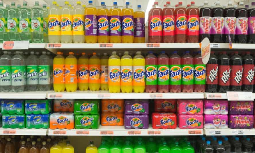 Variety of soft drinks on supermarket