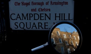 Campden Hill Square in the London borough of Kensington and Chelsea. Thousands of buildings in the borough are secretly owned
