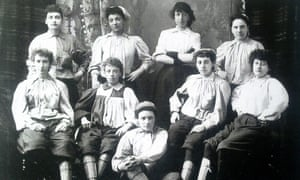 Emma Clarke, second from the left in the back row, was the first black female footballer. She is pictured here with players from Mrs Graham's XI in 1895.
