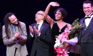 Savion Glover, George C Wolfe, Audra McDonald and Brian Stokes Mitchell during the opening night curtain call for Shuffle Along.