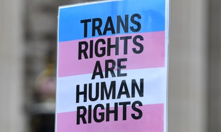 A placard saying 'Trans rights are human rights'