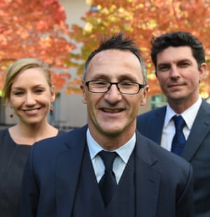The Greens in happier times: Larissa Waters, Richard Di Natale and Scott Ludlam.