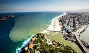 Pollution spreads off the coast of Rio de Janeiro, Brazil, June 2015.