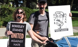 Counter-protesters used humor against lingering rightwingers at a gathering in Berkeley on 27 August.