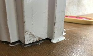 Gap under a door frame in James Hunkin's Bovis home,