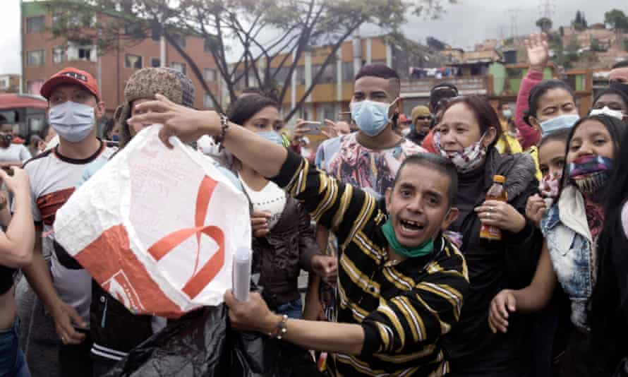 Protesters in Bogotá, Colombia, in Pandemic 2000.