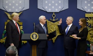 US Vice President Mike Pence swears in General James Mattis as US Defense Secretary, 27 January, 2017.