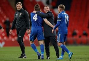 Brendan Rodgers congratulates Caglar Soyuncu