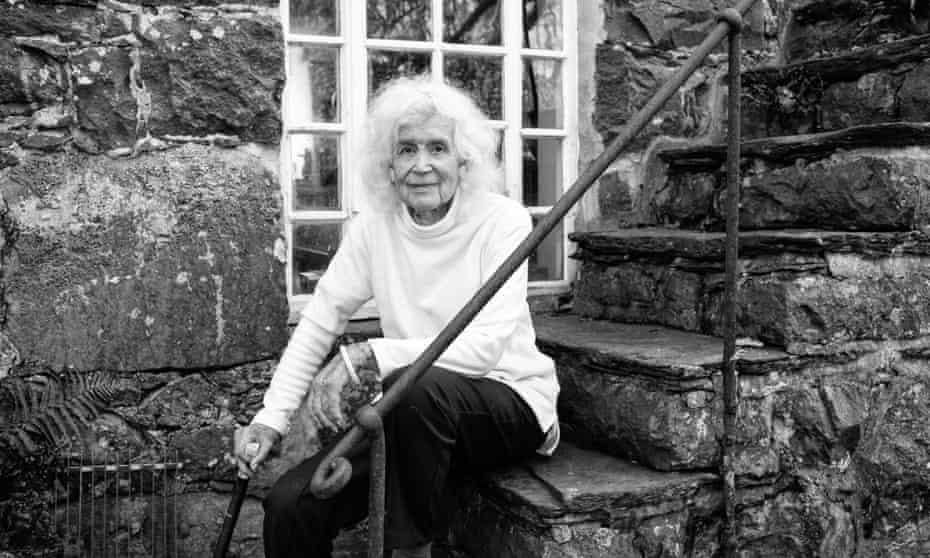Jan Morris outside her home in Wales