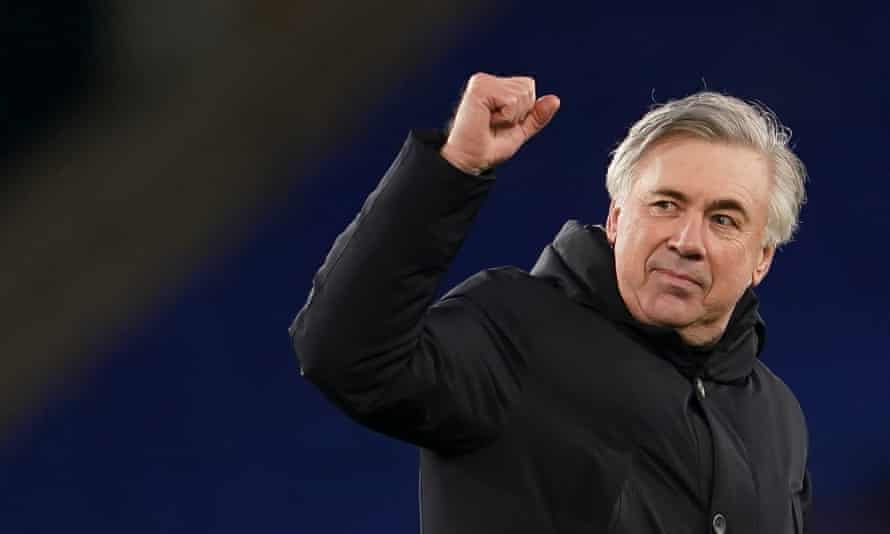 Everton's manager Carlo Ancelotti acknowledges the home crowd after Saturday's 2-1 win over Arsenal.
