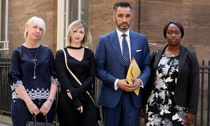 Sheku Bayoh's partner Collette Bell with her mother Lorraine (left) and his sister Kadi Johnson (far right), with their lawyer Aamer Anwar
