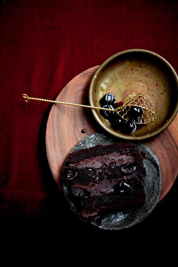 Chestnut, chocolate and cherry terrine