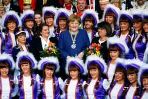 The chancellor, Angela Merkel, attends a reception of German carnival societies in Berlin