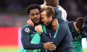 Danny Rose embraces Harry Kane after the injured striker's half-time speech roused Tottenham for their stirring Champions League comeback win at Ajax.